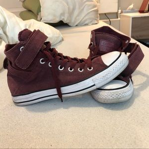 Converse All Stars Maroon High Tops with strap